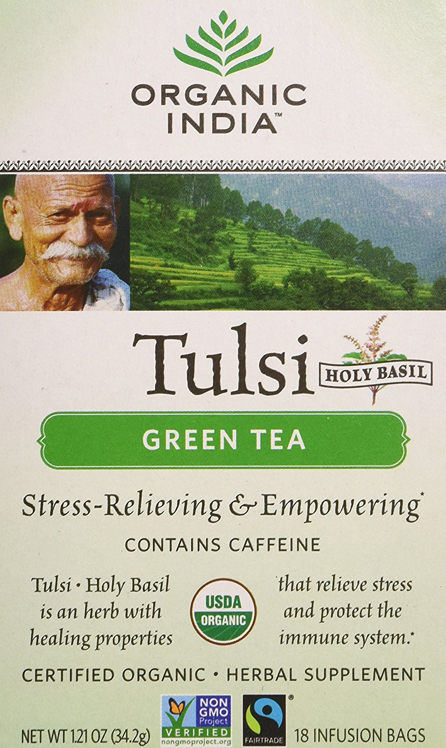 Best Green Tea Brand in India: Organic India Tulsi Green Tea
